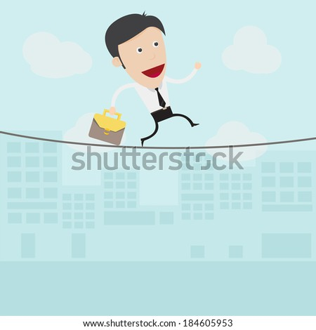 Businessman walking on a rope  - stock vector