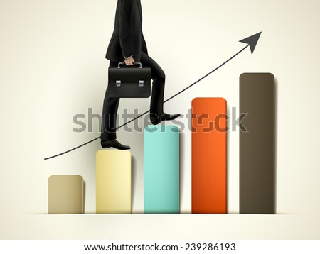 businessman walking on growing graph with arrow - stock vector