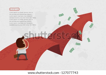 Businessman walking on the red arrow street to success , eps10 vector format - stock vector