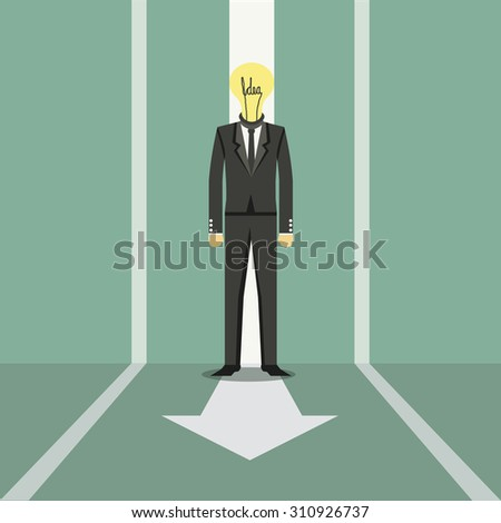 Businessman walking the easy way to success - stock vector