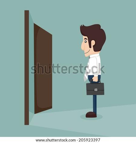 Businessman walking to opened door , eps10 vector format - stock vector