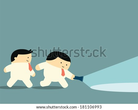Businessman walking together in the dark with flashlight looking or searching for something, business concept in partnership, leadership, or exploration.  - stock vector