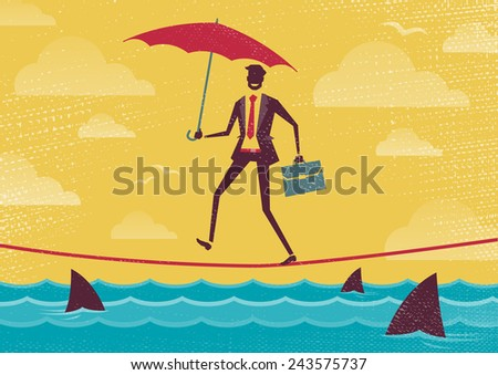 Businessman walks Tightrope with Umbrella. Great illustration of Retro styled Businessman walking carefully across a very high tightrope with his umbrella for added protection. - stock vector