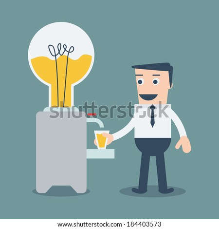 Businessman wants to drink idea from water bulb cooler. - stock vector