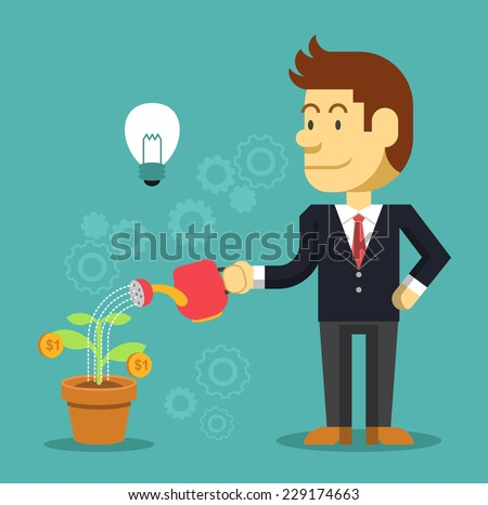 Businessman watering a plant of money. Vector flat illustration - stock vector