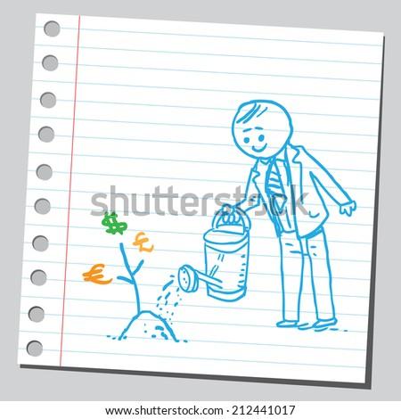 Businessman watering money plant - stock vector