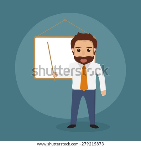 businessman with a board - stock vector