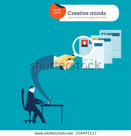 Businessman with a laptop a hand coming out with a loupe searching CVs. Vector illustration Eps10 file. Global colors. Text and Texture in separate layers. - stock vector