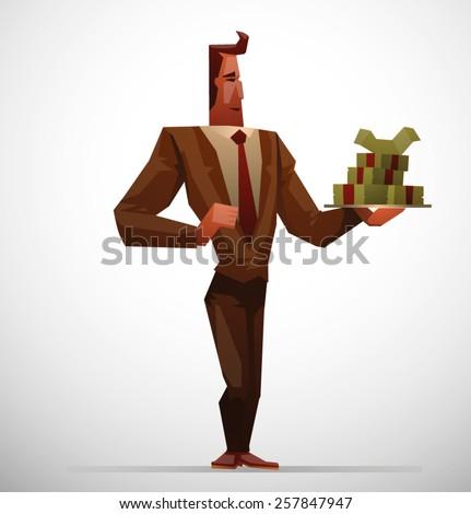Businessman with a money, vector - stock vector