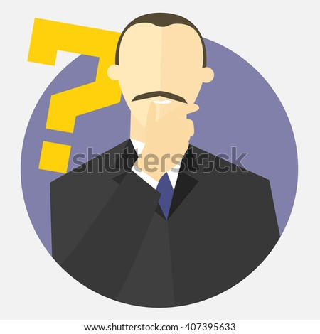 """Businessman with a question mark. Man doubts. """"I don't know"""" expression. Making decision sign. Flat design. Vector illustration - stock vector"""