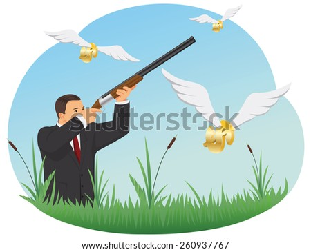 Businessman with a rifle is hunting for dollar signs with wings - stock vector