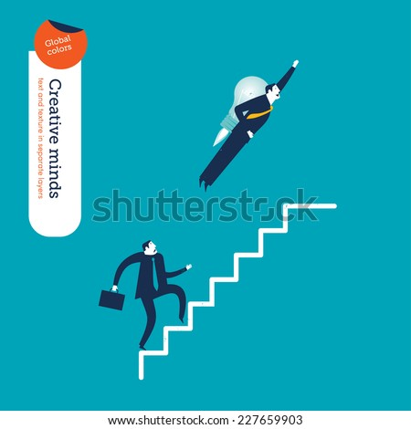 Businessman with a rocket and businessman going up the stairs. Vector illustration Eps10 file. Global colors. Text and Texture in separate layers. - stock vector
