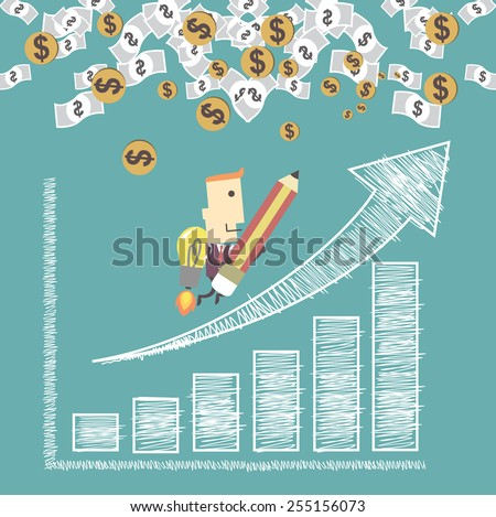 Businessman with a rocket go to succes charting a positive trend graph. Vector illustration Eps10 file.Idea go to success concept - stock vector