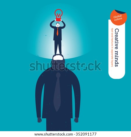 Businessman with a super mind with a bulb. Vector illustration Eps10 file. Global colors. Text and Texture in separate layers. - stock vector