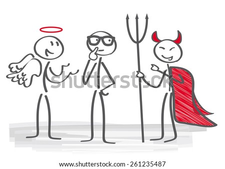 Businessman with angel and demon coach - stock vector