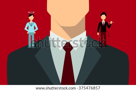 Businessman with angel and devil on his shoulders. - stock vector