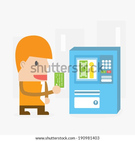 Businessman with Automated Teller Machine ,Vector cartoon business - stock vector