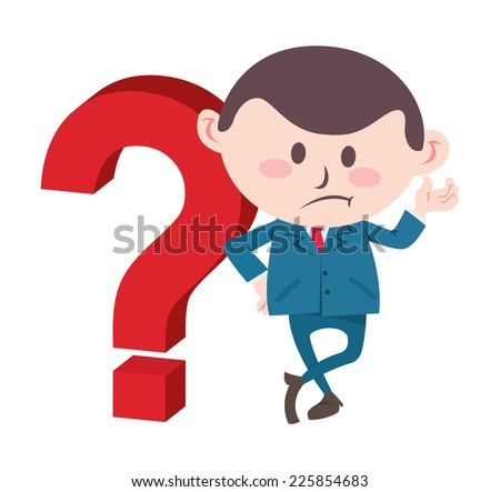 businessman with big question mark - stock vector