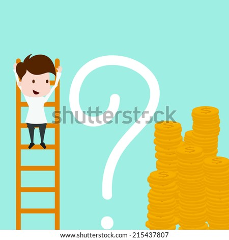 Businessman with big question mark in front of coin. - stock vector