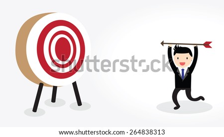 Businessman with bow and arrow is aiming at target - stock vector