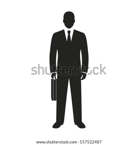 businessman with briefcase black web icon. vector illustration - stock vector