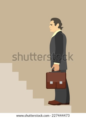 businessman with briefcase in hand stands before the ladder business concept - stock vector