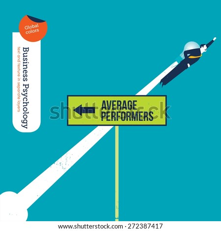 Businessman with bulb rocket flying in the opposite direction of average performers. Vector illustration Eps10 file. Global colors. Text and Texture in separate layers. - stock vector