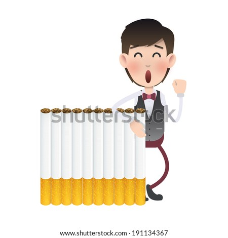 Businessman with cigarette over isolated white background - stock vector