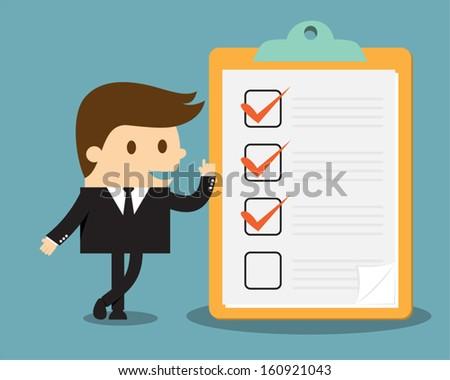 Businessman with clipboard and checklist - stock vector