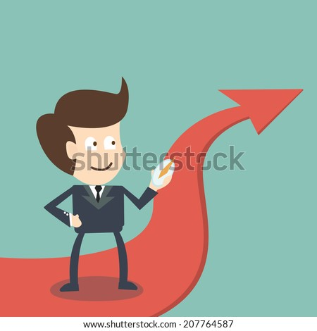 Businessman with compass on arrow direction success - business concept - stock vector