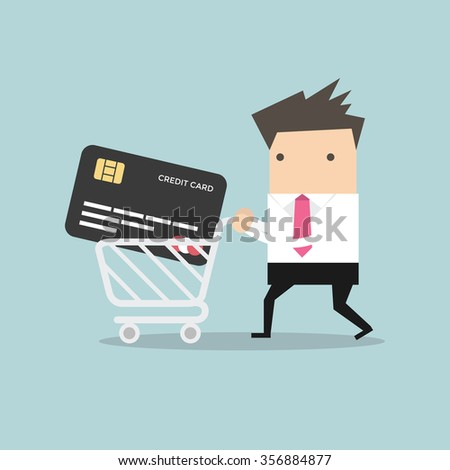 Businessman with credit card in shopping cart - stock vector