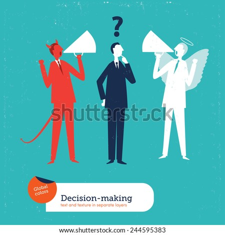Businessman with demon and angel coach. Vector illustration Eps10 file. Global colors. Text and Texture in separate layers. - stock vector