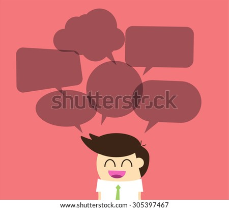Businessman with dialog speech bubbles. vector - stock vector