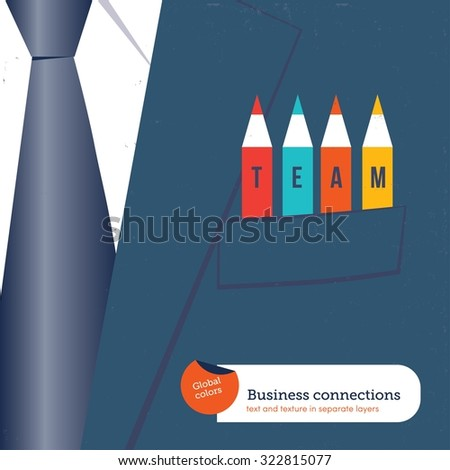 Businessman with different pencils in his pocket TEAM.