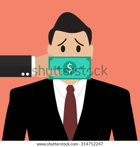 Businessman with dollar banknote taped to mouth. Bribery concept - stock vector