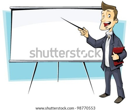 businessman with flip-chart - stock vector