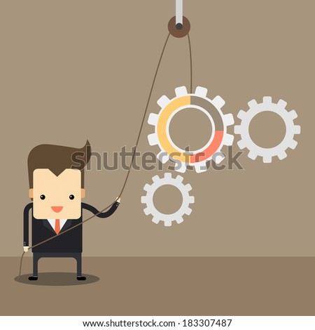 businessman with gear system , teamwork of gear system. - stock vector
