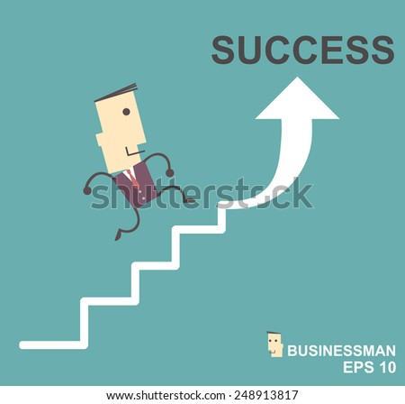 Businessman with  going up the stairs to success. Vector illustration Eps10 file cartoon.success concept - stock vector