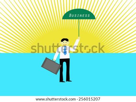 Businessman with green umbrella business.Vector illustration - stock vector