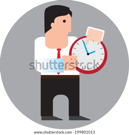 businessman with hours. Vector illustration - stock vector