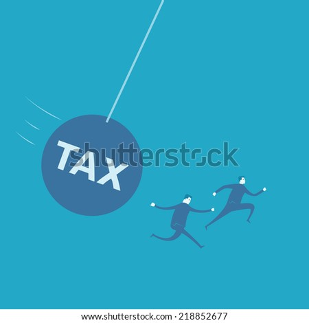 Businessman with Huge Tax Bomb  - stock vector