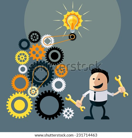 Businessman with ideas. Happy funny cartoon character. Businessman with lightbulb over his head and turns gears to run ideas flat design style - stock vector