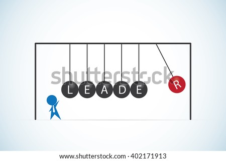 businessman with leader word on balancing balls newton's cradle, leadership and business concept - stock vector