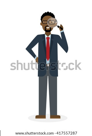 Businessman with magnifier on white background. Isolated character. African american observer. Analyzing tool. Magnifying glass. Curiosity and research in business. - stock vector