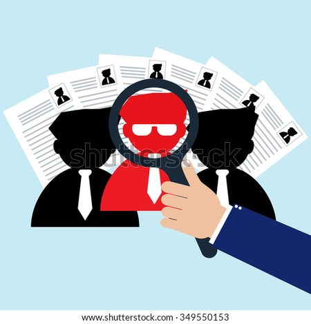 Businessman with magnifying glass selected right person for new worker. Vector illustration recruitment and human resource management concept. - stock vector