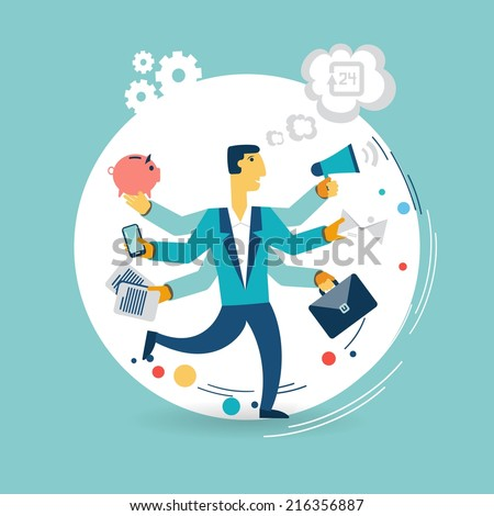 Businessman with many arms does a lot of work illustration - stock vector
