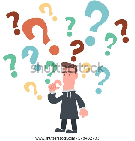 Businessman with Many Question Marks - stock vector