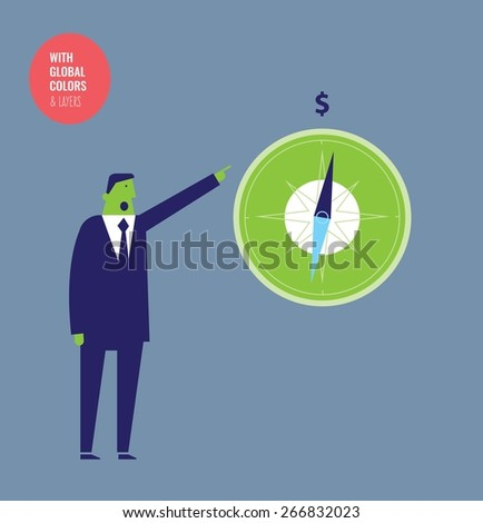 Businessman with money compass. Vector illustration Eps10 file. Global colors&layers. - stock vector