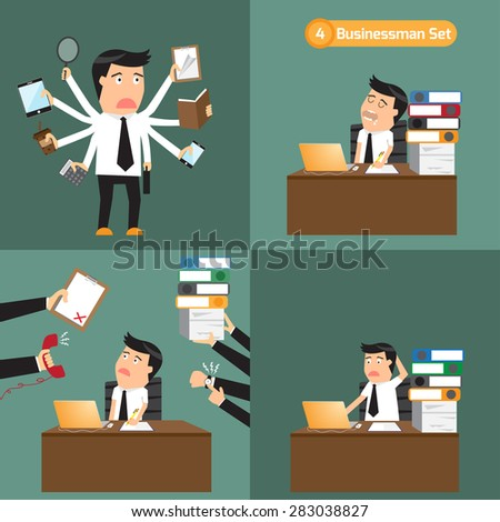 businessman with object in many business concept. business man deadline with overload, multitask or multi-skill and busy. business man lazy, business man hard working, business concept vector. - stock vector