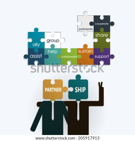 Businessman with partnership text on puzzle jigsaw.Cooperation concept - stock vector